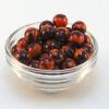 Beads - orange and maroon, round